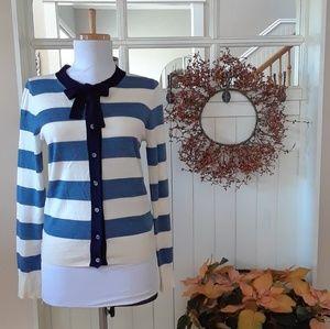J. Crew Blue & Cream Striped Wool Cardigan w/ Bow